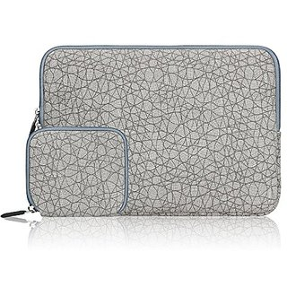 Arvok 15 15.6 16 Inch Canvas Fabric Laptop Sleeve With Extra Bag/Notebook Computer Case/Ultrabook Tablet Briefcase Carrying Bag/Pouch Cover For MacBook Air/Pro/Acer/Asus/Dell/Lenovo/HP, Leaf Vein Grey