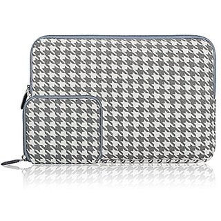 Arvok 11 11.6 12 Inch Houndstooth Grey Canvas Fabric Laptop Sleeve With Extra Bag/Notebook Computer Carrying Case/Ultrabook Tablet Briefcase/Pouch Cover For MacBook Air/Pro/Acer/Asus/Dell/Lenovo/HP