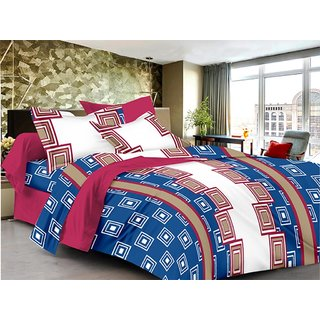 Lali Prints Blue Square Pattern Soft Cotton 1 Double Bedsheet with 2 Pillow Covers