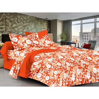 Lali Prints Leaves & Floral Pattern 100% Cotton 1 Double Bedsheet with 2 Pillow Covers