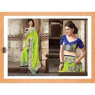 Parrot Green Designer Saree