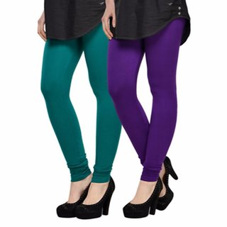Vnu Green And Purple Cotton Leggings Set Of 2