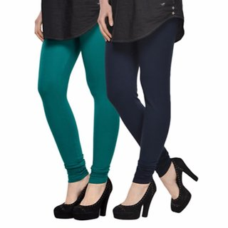 Vnu Green And Dark Blue Cotton Leggings Set of 2