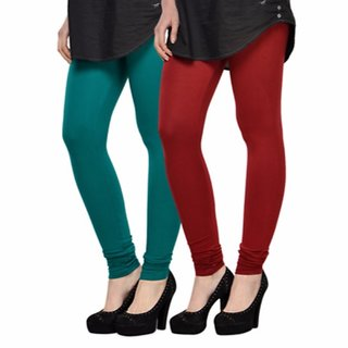 Vnu Green And Maroon Cotton Leggings Set of 2