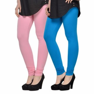 Vnu Pink And Light Blue Cotton Leggings Set of 2