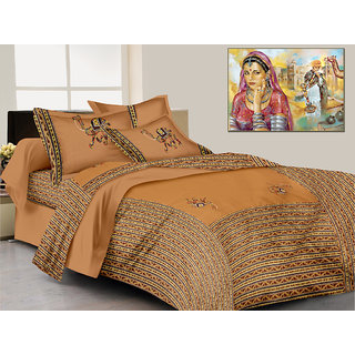 Lali Prints patchwork Jaipuri Camel print 1 King Size bedsheet and 2 pillow covers