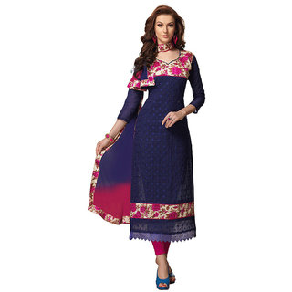 Pricebet Blue Chanderi Embroidered Salwar Suit Dress Material