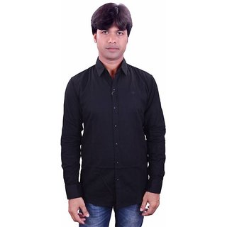 Henry Club Black  Slim Full sleeves  Shirt For Men