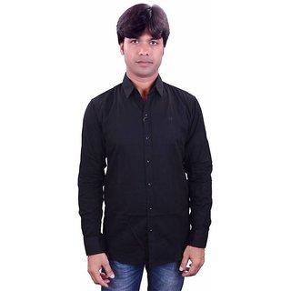 Henry Club Black Slim Full sleeves  Shirt For Men