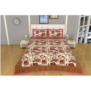 100 items Floral Printed Exclusive Design Cotton Pink & Beige Double Bedsheet With 2 Pillow Cases