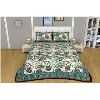 100 items Floral Printed Exclusive Design Cotton Turquoise & Beige Double Bedsheet With 2 Pillow Cases