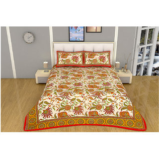100 items Floral Printed Exclusive Design Cotton Orange & Beige Double Bedsheet With 2 Pillow Cases