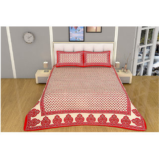 100 items Classy Motif Printed Design Cotton Red & Beige Double Bedsheet With 2 Pillow Cases