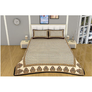 100 items Classy Motif Printed Design Cotton Black & Beige Double Bedsheet With 2 Pillow Cases
