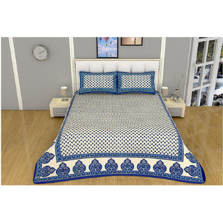 100 items Classy Motif Printed Design Cotton Blue & Beige Double Bedsheet With 2 Pillow Cases
