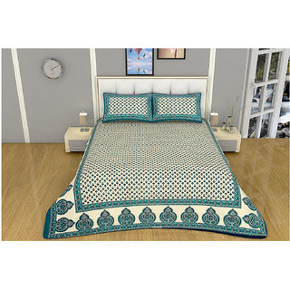 100 items Classy Motif Printed Design Cotton Green & Beige Double Bedsheet With 2 Pillow Cases