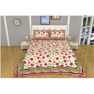 100 items White & Pink Floral Printed Exclusive Cotton Double Bedsheet With 2 Pillow Cases