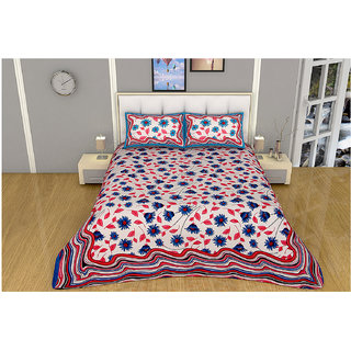 100 items White & Blue Floral Printed Exclusive Cotton Double Bedsheet With 2 Pillow Cases