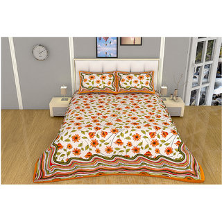 100 items White & Orange Floral Printed Exclusive Cotton Double Bedsheet With 2 Pillow Cases