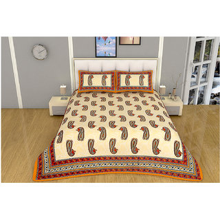 100 items Block Printed Design Yellow Cotton Double Bedsheet With 2 Pillow Cases