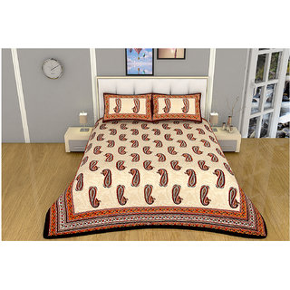 100 items Block Printed Design Beige Cotton Double Bedsheet With 2 Pillow Cases