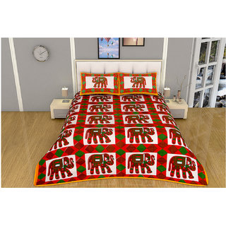 100 items Traditional Animal Printed Cotton Red & White Double Bedsheet With 2 Pillow Cases