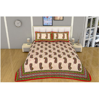 100 items Hand Block Printed Design Multicolor Cotton Double Bedsheet With Two Pillow Cases