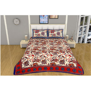100 items Nature & Floral Printed Exclusive Design Cotton Red & Beige Double Bedsheet With Two Pillow Cases