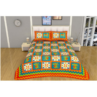 100 items Traditional Animal Printed Cotton Multicolor Double Bedsheet With Two Pillow Cases
