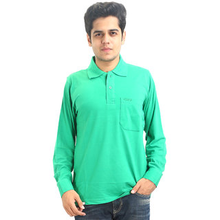 GO-ON Green Polo Neck Long Sleeve T-Shirt For Men