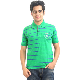 GO-ON Green Polo Neck Half Sleeve T-Shirt For Men