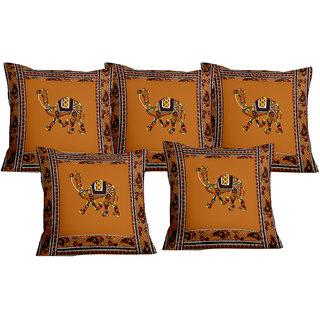 Lali prints Patch work Camel Royal Print Cushion Cover Set of 5