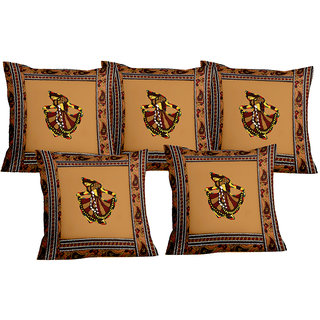 Lali prints Patch work Traditional Ghumar Print Cushion Cover Set of 5