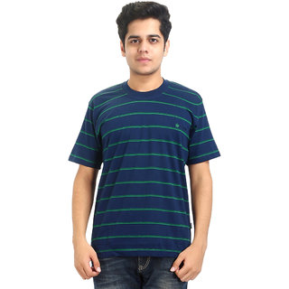 GO-ON Blue Round Neck Half Sleeve T-Shirt For Men