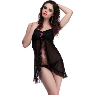 Belle Nuits Solid black Nighty with Brief Combo