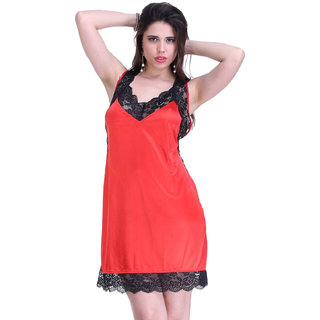 Belle Nuits Solid Red Nighty