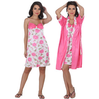Belle Nuits Floral Pink Nighty With Robe Combo
