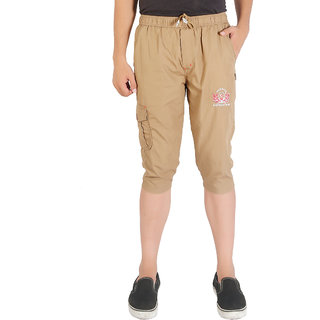 GO-ON Brown Plain Capri For Men