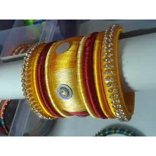 Wheat & Red Color Bangles Set (9 Pieces)  L0014