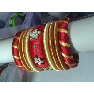 Red  Gold Color Bangles Set (9 Pieces)  L0013
