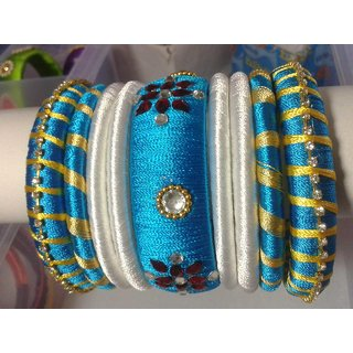 Steel Blue Color Bangles Set (9 Pieces)  L0011