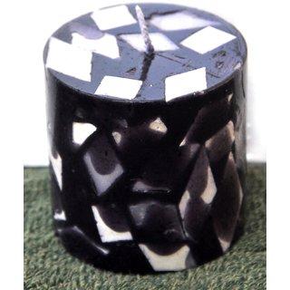 Short Round Black Chunk Pillar