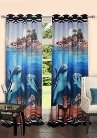 Lushomes Digitally Printed Marine Polyster Blackout Curtains with 6 Metal Eyelets for Windows