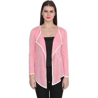 Lee Marc Pink Solid Woollen Shrug