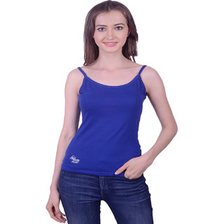 Lee Marc Blue Solid Noodle Strap Sleeveless Cotton Top