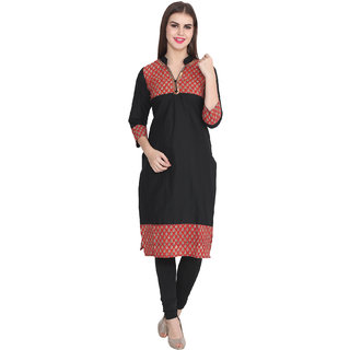 Lee Marc Black Plain Cotton Stitched Kurti
