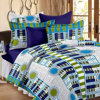 Valtellina Geometric Design Green Colour Cotton Double Bed Sheet with 2 Pillow Cover - TC-140