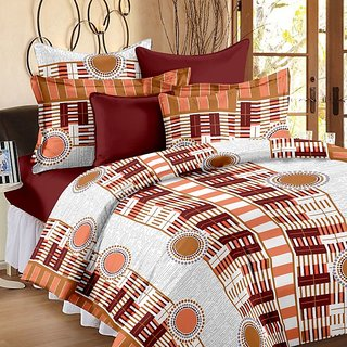 Valtellina Geometric Design Brown Colour Cotton Double Bed Sheet with 2 Pillow Cover - TC-140
