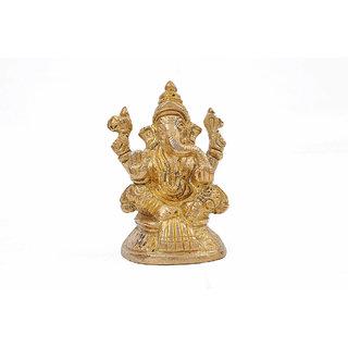 Creative Crafts Brass Figurine Ganesha Idol Hindu God Statue Home Decorative Handicraft Corporate/Diwali Gift  Showpiece