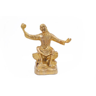 Creative Crafts Brass Figurine Sai Baba Idol Hindu God Statue Home Decorative Handicraft Corporate/Diwali Gift & Showpiece